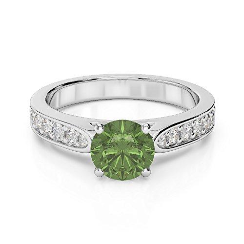 Or blanc 18carats 1CT G-H/VS sertie de diamants ronds Cut Tourmaline verte et bague de fiançailles Agdr-1221
