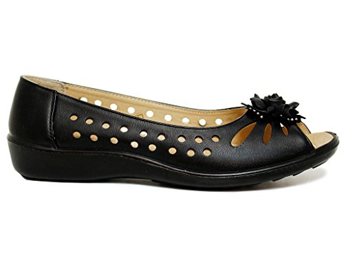 NEW LADIES FLAT BALLET BALLERINA PUMPS CUTOUT COMFORTABLE SUMMER DOLLY SHOES SIZE 3-8 Black S2 fbzkmU