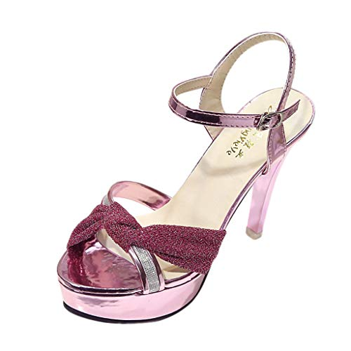 - Sunhusing Handmade Frosted Bow High Waterproof Platform Open Toe Sandals New Thin High Heel Color Sandals Pink