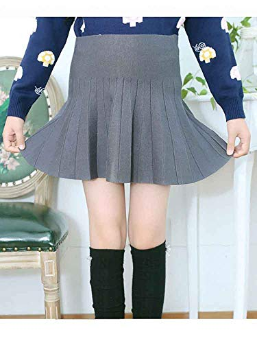 Gooket Girls High Waist Knitted Flared Pleated Skater Skirt Casual Mini Skirt Grey Tag 120 (5-6 Years) by Gooket (Image #1)