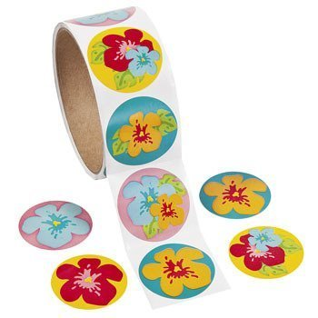 Hibiscus Stickers, 1 Roll of 100 Stickers