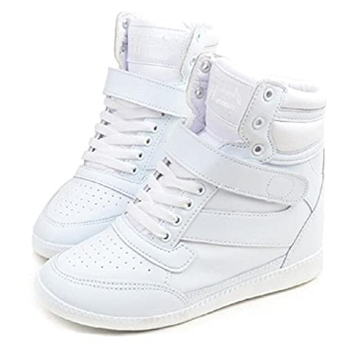 4d9bb788c831 best Adult Women s Hidden Heel High Top Wedges Lace up Casual Fashion  Sneakers