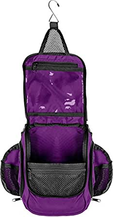 Compact Hanging Toiletry Bag, Personal Organizer | Rugged & Water Resistant with Mesh Pockets & Sturdy Hook (Purple)