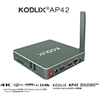 KODLIX AP42 DIY SSD Mini PC Intel Apollo Lake Pentium N4200 Processor (2M Cache, up to 2.5 GHz) 4GB/57.5GB 1000Mbps LAN Intel HD Graphics 505 2.4/5.8G WiFi Bluetooth 4.0 Player Support Windows 10