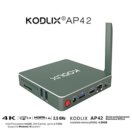 KODLIX AP42 DIY SSD Mini PC Intel Apollo Lake Pentium N4200 Processor (2M Cache, up to 2.5 GHz) 4GB/57.5GB 1000Mbps LAN HD Graphics 505 2.4/5.8G WiFi Bluetooth 4.0 Support Windows 10 and Linux System
