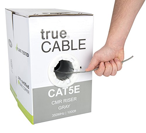 Cat5e Riser (CMR), 1000ft, Gray, 24AWG 4 Pair Solid Bare Copper, 350MHz, ETL Listed, Unshielded Twisted Pair (UTP), Bulk Ethernet Cable, trueCABLE