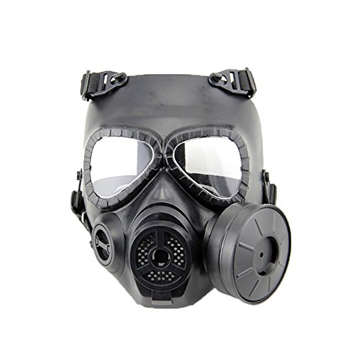 [VILONG Airsoft Paintbal Dummy Gas Mask Fan for Cosplay Protection Zombie Soldiers Halloween Masquerade Resident Evil Antivirus Skull] (Full Face Gas Mask Costume)