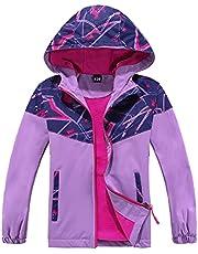 Hiheart Girls Outdoor Windproof Hooded Jacket