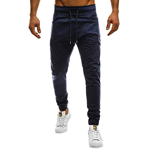 HTHJSCO Men's Fitness Workout Running Bodybuilding Joggers Pants, Men's Sport Casual Loose Sweatpants Drawstring Pant (Navy, L) by HTHJSCO
