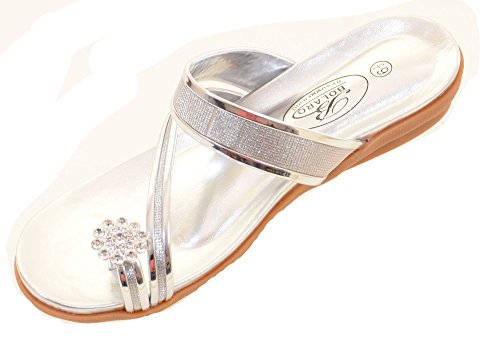 ring SILVER Toe Wedge Sandal Wedding Rhinestone Sparkly Bridal 4zax6qv7