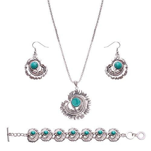 OUFO Women Girls Turquoise Crystal Feather Vintage Silver Jewelry Set Elegant Ethnic Boho Necklace Pendant Earring Bracelet (3136)