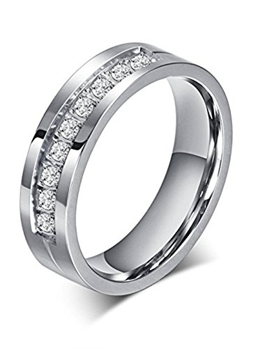 LEEYA NL09 6mm Titanium Wedding Band Engagement Ring with Brilliant CZ Diamonds Mens Wedding Band (5)