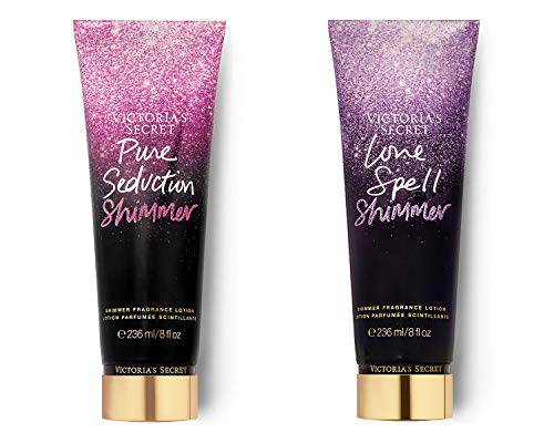 Victoria's Secret Love Spell and Pure Seduction Fragrance Lotion 8 Oz. Bundle of 2
