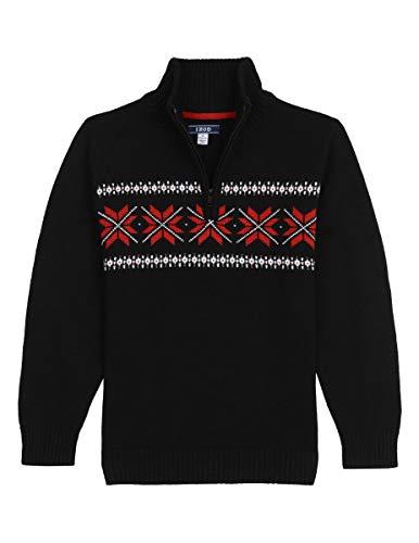 IZOD Boys' Big Half Zip Sweater, Black, Small (8)