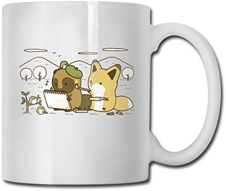 antspuent Little Fox and Little Civet Funny Coffee Mug - 11 Ceramic Coffee Cup - Best Gifts Idea for Christmas, Valentine and Birthday, Father's Day and Mother's Day Cup