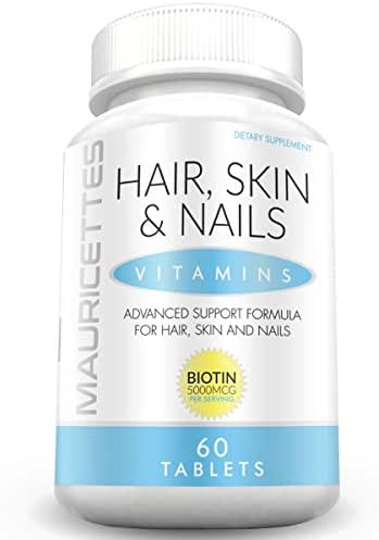 Mauricettes Hair Skin and Nails Vitamins - Blend of Over 20 Ingredients - Collagen Biotin Keratin - Natural Growth & Strengthener