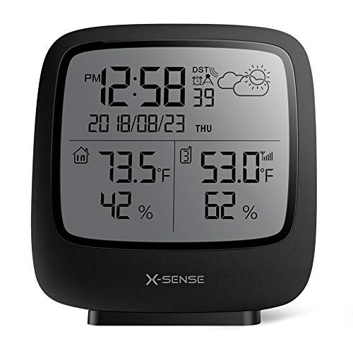 X-Sense Wireless Weather Station with 500 ft Wireless Range, Large Backlit LCD, Atomic Clock, Accurate Temperature and Humidity Monitor, Weather Forecast (Wireless Remote Sensor Thermometer)