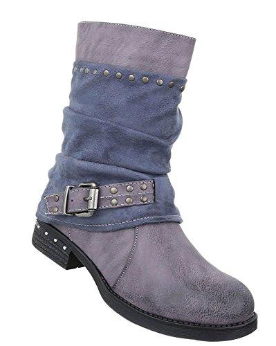 buy popular 4ad9a 5381d Damen Boots Wadenhoch Stulpen Stiefelette Used runde ...