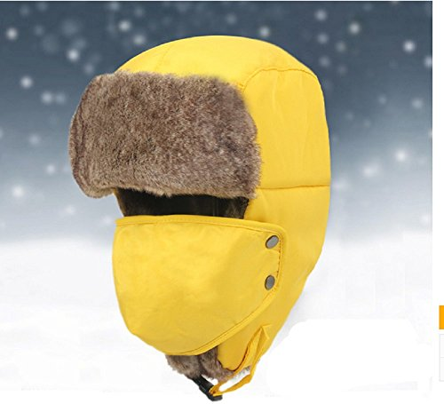 global-tesco-new-autumn-and-winter-outdoor-skiing-hat-ear-hat-thicker-warm-cap-yellow