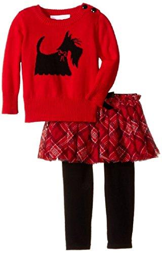 Scotty Dog Leggings - Bonnie Baby Baby-Girls Infant Scottie Dog Intarsia Sweater Legging and Skirt Set, Red, 3-6M