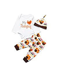 Unisex Baby My First Thanksgiving Long Sleeve Rompers+Pants+Hat 3Pcs Clothes Set
