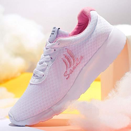 Casual Chaussures Mode Mesh Bhydry De Baskets Etudiants Blanc Pour Femmes Respirantes Course xOXxqdt
