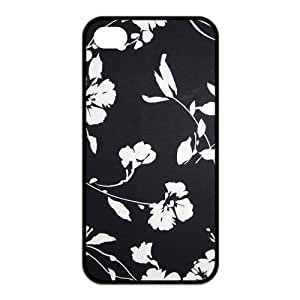Custom Black-White Flower Unique Iphone 4 4S Protective Rubber TPU cover