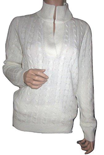LAUREN RALPH LAUREN Women Cable Knit Shawl Sweater Cashmere Blend Ivory (Large)