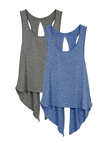 icyzone Sexy Yoga Tops Workout Clothes Racerback Tank Top For Sport Women (L, Charcoal/Denim)