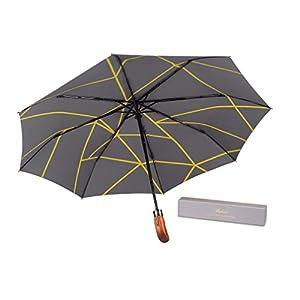 (UK Designed) Balios Umbrella Handmade Real Wood Handle-Metallic Grey & Interior Geometric Yellow Line Pattern-Windproof Fiberglass Auto Open & Close Folding--300T Finest Fabric-Luxury Gift Box