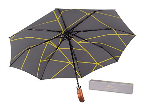 (UK Designed) Balios Umbrella Handmade Real Wood Handle-Metallic Grey & Interior Geometric Yellow Line Pattern-Windproof Fiberglass Auto Open & Close Folding--300T Finest Fabric-Luxury Gift - Glasses Uk Wooden Frames