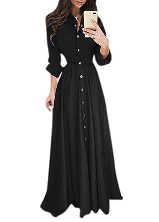 c88085e5b52 Romacci Women Chiffon Long Shirt Dress Solid Long Sleeves Button Belted  Casual Maxi Dress Vestidos Black