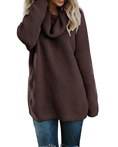 Pxmoda Women's Casual Long Sleeve Turtleneck Knit Sweater Chunky Oversized Pullover Jumper (L, Dark Red)
