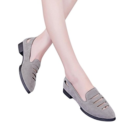 Low Heel Flat Shoes,Women Wedge Sandals Office Shoes Hollow Pointed Toe Wedding Sandals Hemlock (US:6, Grey) -
