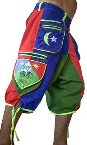 (Bicycle Day psychedelic pants Albert Hofmann LSD cult trousers goa trance shorts L)