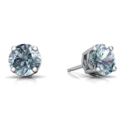 Genuine Aquamarine Round Stud Earrings 14Kt White Gold Sterling Silver