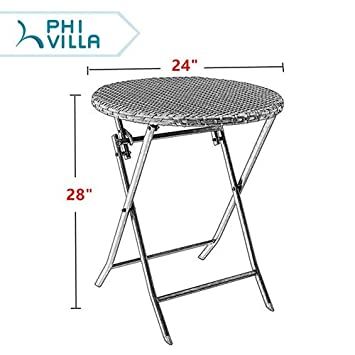 PHI VILLA 24 Outdoor Resin Rattan Wicker Folding Table Patio Porch Bistro Dining Table