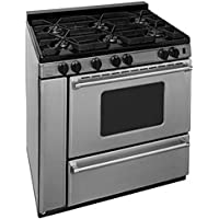 Premier P36S3182PS 36 Pro Series Gas Range with 6 Sealed Top Burners Separate Broiler Compartment 17 000 BTU Oven Burner Heavy Duty Cast Aluminum Griddle Storage Compartment and In