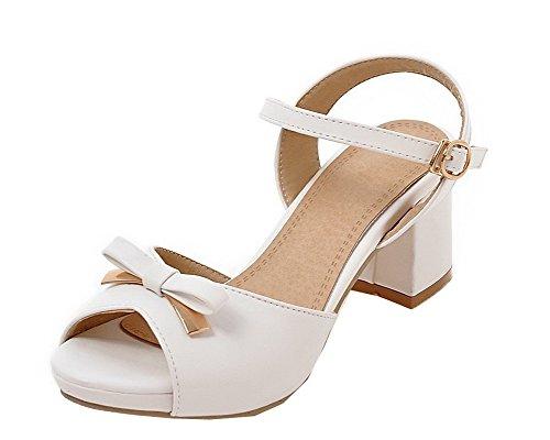 Boucle TSFLH006603 Sandales Correct Couleur Blanc Unie Femme d'orteil à AalarDom Ouverture Talon wOYqa