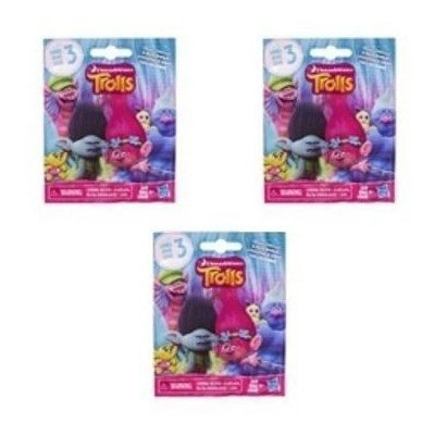 Set of 3: DreamWorks Trolls Surprise Mini Figure Series 4 Blind Bag - Each Package includes 1 Mini Figure