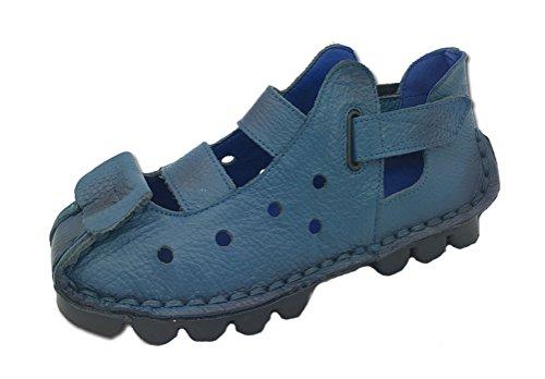 Indigo Leather Platforms (Soojun Women's Cowhide Leather Cut Out Velcro Straps Sandels, US 6 Indigo)