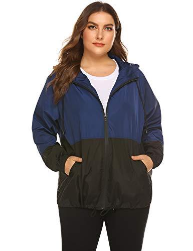 IN'VOLAND Women's Plus Size Raincoat Rain Jacket Lightweight Waterproof Coat Jacket Windbreaker with Hooded Navy Blue