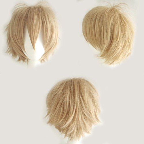 Blonde-Cosplay-Wig-Short-20-Styles-Anime-Synthetic-Wig-with-Bangs-Layered-Fluffy-Hair-Oblique-Fringe-Full-Head-Unisex-Stretchable-Elastic-Wig-Net-for-Man-and-Women-Girls-Lady-Linen-Blonde