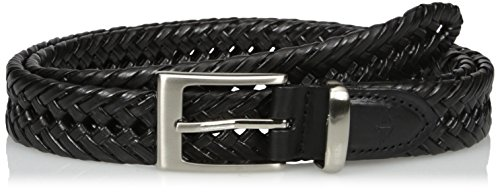 Leather Braid Black (Dockers Men's 1 1/4 in. Laced Braid Metal Logo Belt,Black,40)