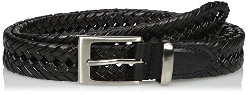 Braid Leather Black (Dockers Men's 1 1/4 in. Laced Braid Metal Logo Belt,Black,40)