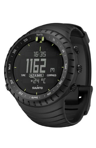 Suunto Core Wrist-Top Computer Watch with Spare Replacement Band Bundle (All Black with Black/Silver Replacement Band)
