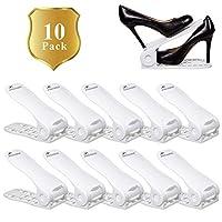 Living Standards Shoe Slot Space Saver, Adjustable Shoe Organizer, Storage Shoe Holder for Closet and Home, White 10 Piece Set