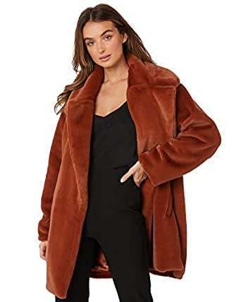 Twiin Women's Inherit Fur Coat Polyester Orange