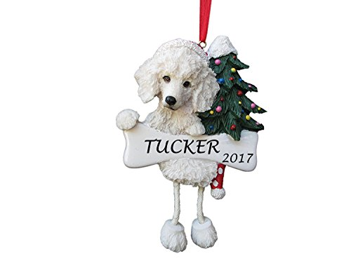 Dangling Legs Dog Ornament - Poodle White Color with Dangling Legs with Red Santa Hat Hand Painted Personalized Christmas Ornament