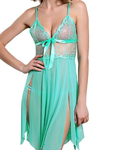 FasiCat Sexy Lingerie Deep-V Lace Babydoll Sling Chemise Sleepwear With G String